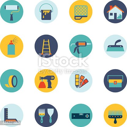 House painting icon set stock vector art more images of 2015 534221663 istock - Exterior painting quotes set ...