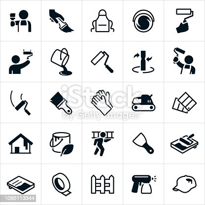 A set of house painting icons. The icons include painters, painting, paint brush, paint roller, paint bucket, paint, paint mixing, gloves, sander, paint swatches, ladder, paint sprayer, tape, picket fence and other related icons.