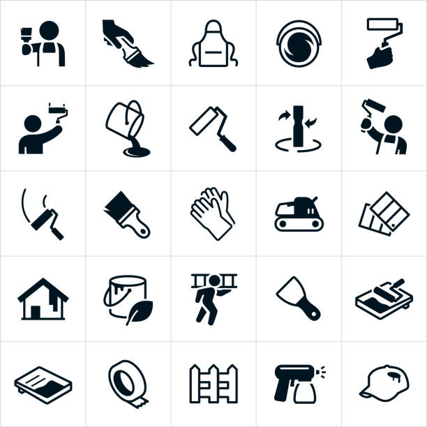 House Painting Icons A set of house painting icons. The icons include painters, painting, paint brush, paint roller, paint bucket, paint, paint mixing, gloves, sander, paint swatches, ladder, paint sprayer, tape, picket fence and other related icons. paint can stock illustrations