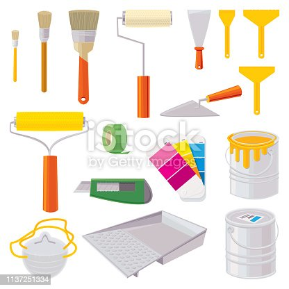 House Painting Icons.  Vector illustration.