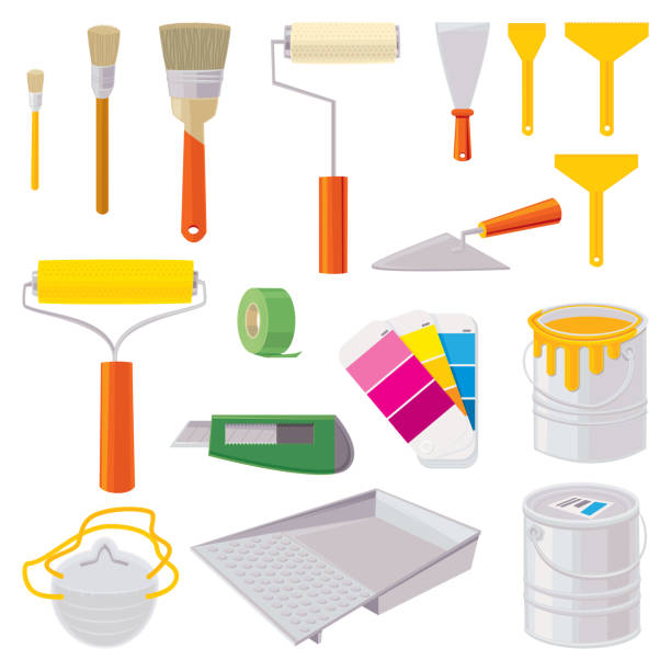 House Painting Icons House Painting Icons.  Vector illustration. paint can stock illustrations