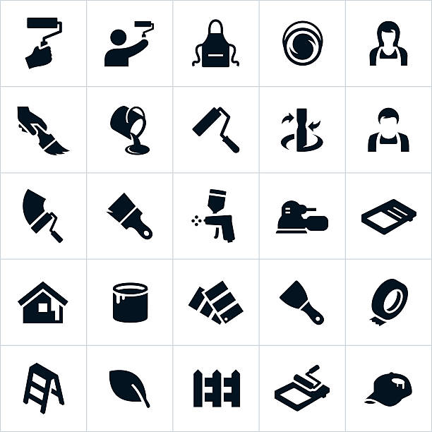House Painting Icons Icons related to painting for both residential or commercial type projects. The icons include brushes, rollers, paint and different tools used in painting. paint can stock illustrations