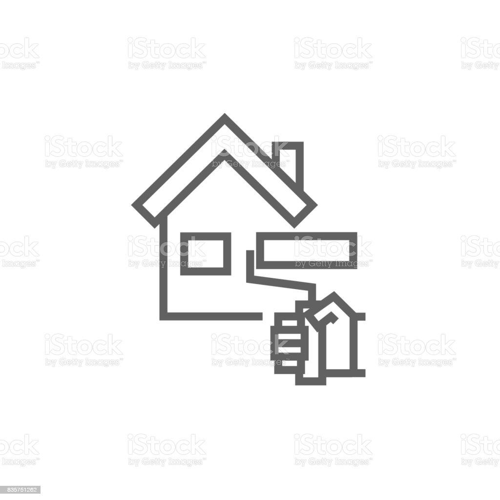 Ev Boyama Satırı Simgesi Stok Vektör Sanatı Apartmannin Daha