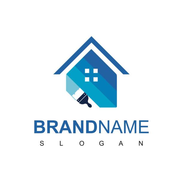 illustrations, cliparts, dessins animés et icônes de modèle de conception de logo de peinture de maison - logo peintre en batiment