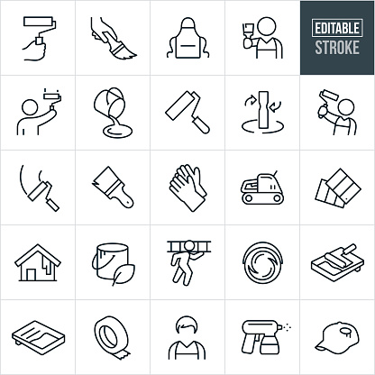 House Painting Thin Line Icons - Editable Stroke