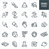 A set of house painting icons that include editable strokes or outlines using the EPS vector file. The icons include a hand holding a paint roller, hand using a paintbrush, apron, person holding paintbrush, person using a paint roller, paint bucket, paint roller, painter holding a paint roller, gloves, sander, paint swatch, house being painted, painter carrying ladder, paint pan, paint tape, male painter, paint sprayer and a hat with paint stain to name a few.