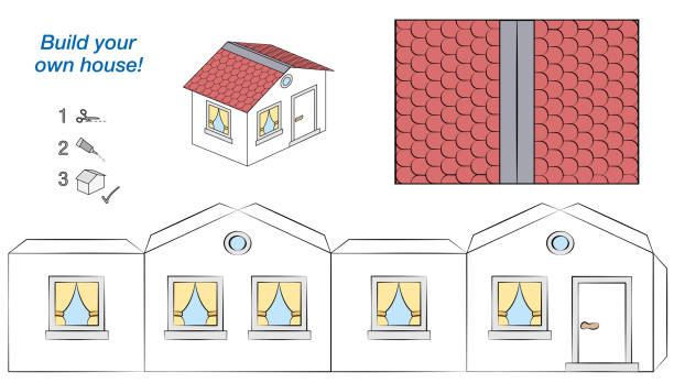 House paper model. Easy template - comic cottage with white walls and red roof. Cut out, fold and glue it. Isolated vector illustration on white background. House paper model. Easy template - comic cottage with white walls and red roof. Cut out, fold and glue it. Isolated vector illustration on white background. dollhouse stock illustrations