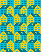 House pattern seamless. Town background. Small city texture. houses ornament