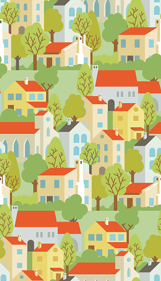 Background With Houses And Trees. Vector Seamless Pattern