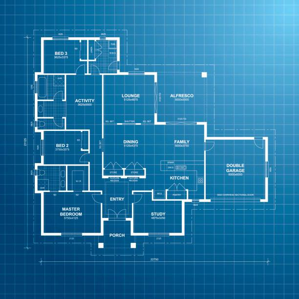 House Plan Blueprint vector art illustration