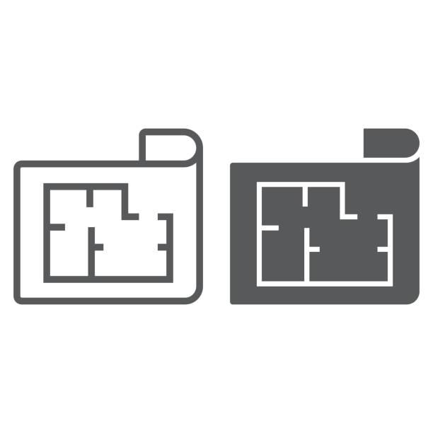 illustrazioni stock, clip art, cartoni animati e icone di tendenza di house plan line and glyph icon, real estate and home, architectural blueprint sign vector graphics, a linear pattern on a white background, eps 10. - real life