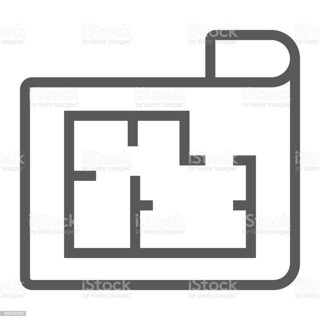 House plan line icon real estate and home architectural blueprint house plan line icon real estate and home architectural blueprint sign vector graphics malvernweather Image collections