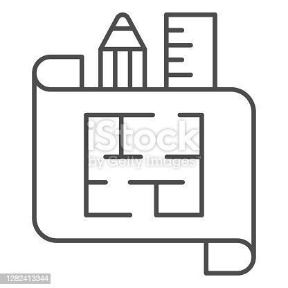 istock House plan on paper with ruler and pencil thin line icon, interior design concept, architecture house plan sign on white background, house scheme icon in outline style. Vector graphics. 1282413344