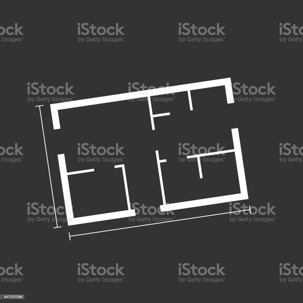 House plan simple flat icon. Vector illustration on black background. vector art illustration