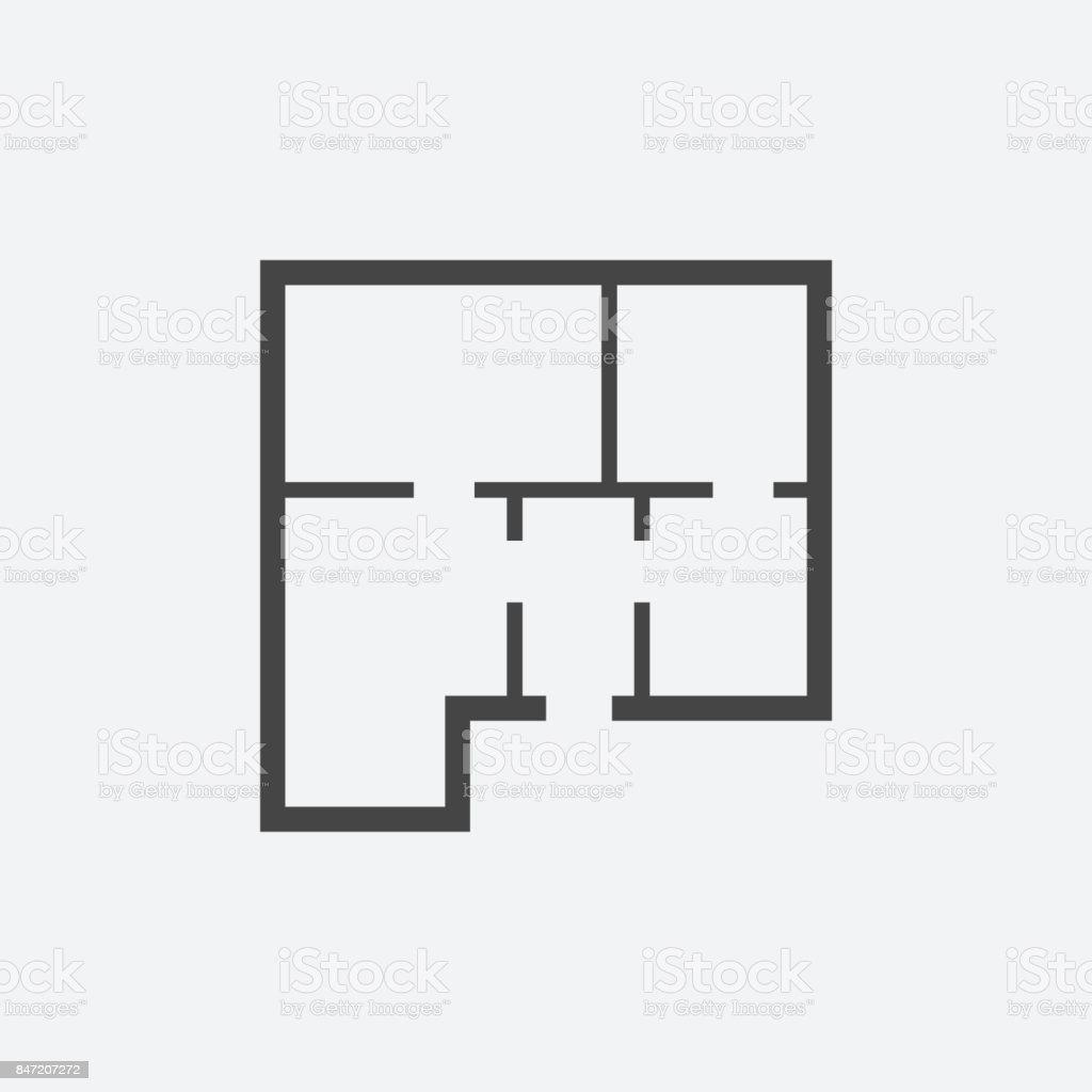 House plan simple flat icon. Vector illustration on white background. vector art illustration