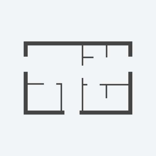 ilustrações de stock, clip art, desenhos animados e ícones de house plan simple flat icon. vector illustration on white background. - obras em casa janelas