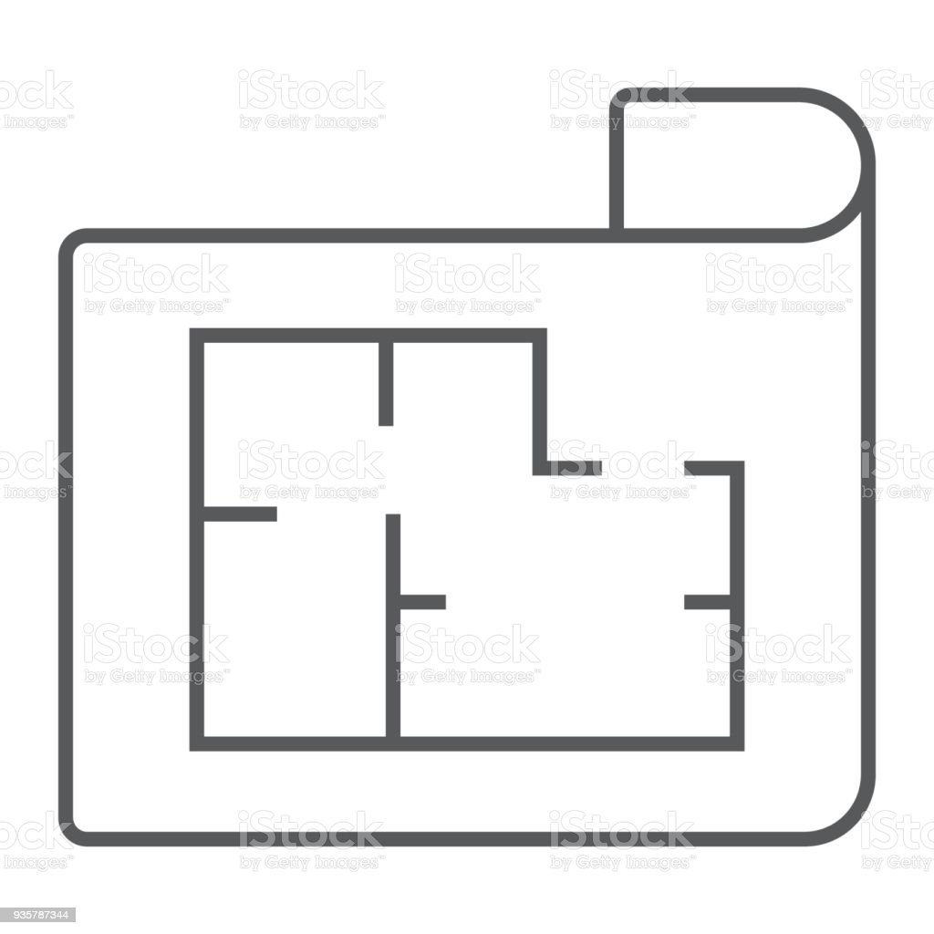 House plan thin line icon real estate and home architectural house plan thin line icon real estate and home architectural blueprint sign vector graphics malvernweather Image collections