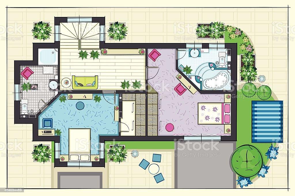 House  Plan  Top  View  Of A Second Floor Stock Vector  Art