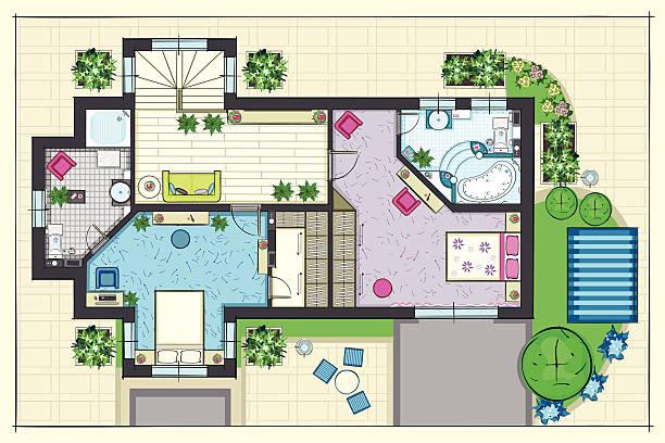 haus planen mit blick auf einen zweiten etage - gartensofa stock-grafiken, -clipart, -cartoons und -symbole