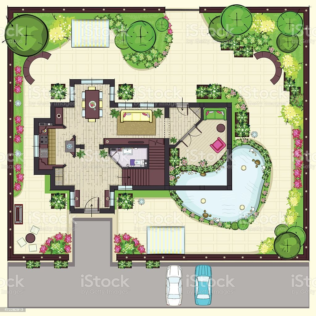 House plan top view with garden vector art illustration