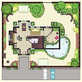 House plan top view with garden