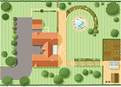 """""""A detailed top down view of a large house and surrounding garden, lots of detail , down to flowers on plants and fish in the pond. 16 layers aid editing, can be used vertically or horizontally."""""""