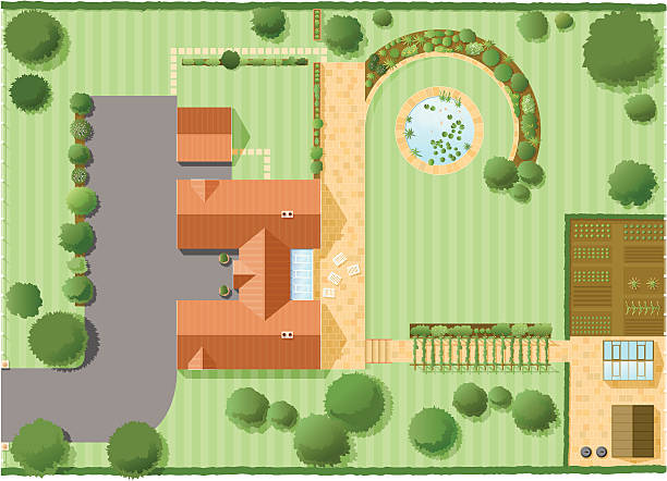 stockillustraties, clipart, cartoons en iconen met house plan two - garden house