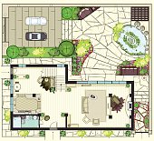 The Top plan of house with furniture. View of the Grand floor and gardening. Backyard parking area, lounge zone and pond. Asian style.