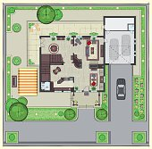 House top view. House plan with furnitures.  Landscaping plan.