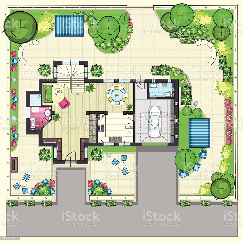 House plan with a beautiful garden and four lounge zones vector art illustration