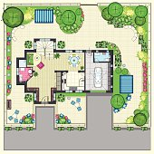 House plan with a beautiful garden and four lounge zones