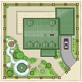 The House Top view. Top Plan of landscaping area. The residential home with a beautiful garden, ponds and backyard.