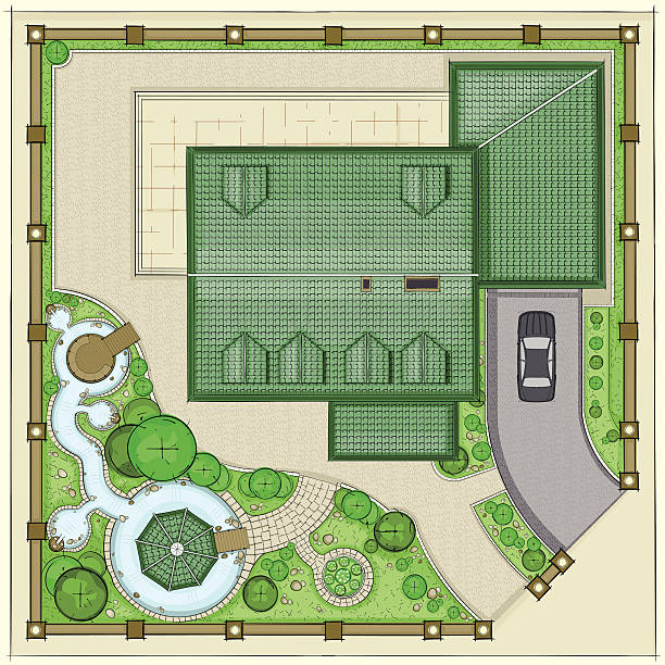 House plan with a beautiful garden, ponds and backyard vector art illustration
