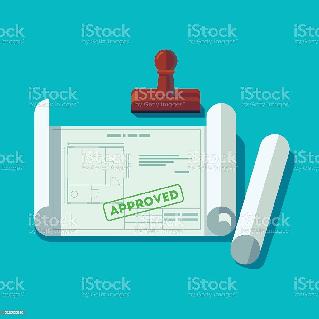 House planning technical blueprints - illustrazione arte vettoriale