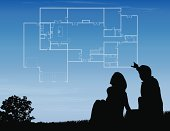 A couple imagines the layout of their dream house. Files included – jpg, ai (version 8 and CS3), and eps (version 8)
