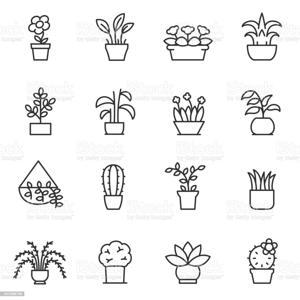 House plants icon set. Flower in pot. Line with editable stroke royalty-free house plants icon set flower in pot line with editable stroke stock illustration - download image now