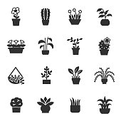 House plants, monochrome icons set. Flower in pot, simple symbols collection