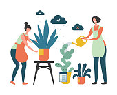 House plants. Urban jungle concept. Vector flat girls take care of house plants illustration. Florists gardeners characters. Flowerpot greenery, botanical horticulture