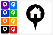 House Point Icon Square Button Set. The icon is in black on a white square with rounded corners. The are eight alternative button options on the left in purple, blue, navy, green, orange, yellow, black and red colors. The icon is in white against these vibrant backgrounds. The illustration is flat and will work well both online and in print.