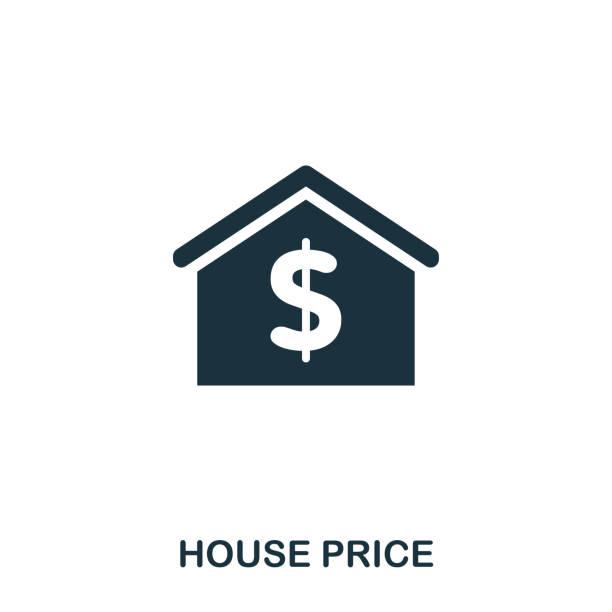 Icon creativo precio de la vivienda. Ilustración de elemento simple. Precio de la vivienda concepto símbolo de diseño de colección de bienes raíces. Puede ser utilizado para web, móvil e impresos. Diseño Web, aplicaciones, software, imprimir. - ilustración de arte vectorial