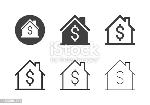 House Price Icons Multi Series Vector EPS File.
