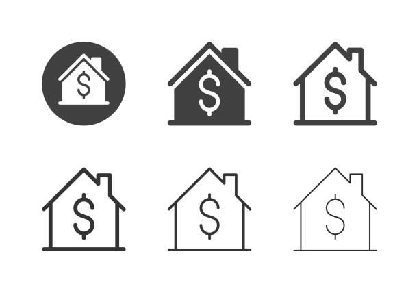 illustrazioni stock, clip art, cartoni animati e icone di tendenza di icone dei prezzi delle case - serie multi - casa