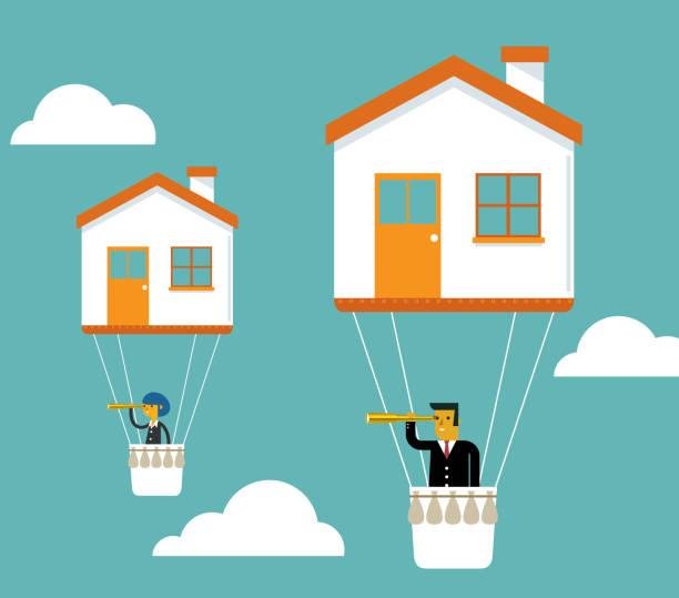 ilustraciones, imágenes clip art, dibujos animados e iconos de stock de casa de precio - hipotecas y préstamos