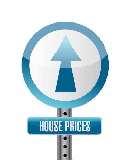 ceny domów projekt ilustracji znaków drogowych - white house stock illustrations