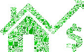 House Pricing Cleaning Background Pattern. The vector icons fill the outline of the main shape depicted in this illustration and form a seamless pattern. These cleaning icons vary in size and in the shade of the green color. The icons include classic cleaning symbols such as the maid, cleaning supplies, cleaning bottles and many others.