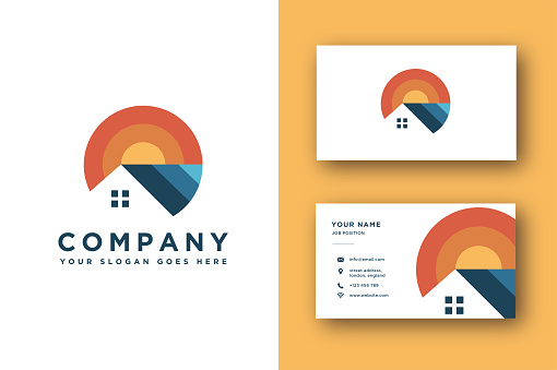 house property vector and business card template