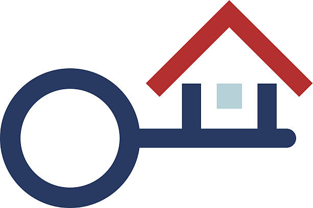House protection key real estate foundation logo icon House protection key real estate foundation logo icon house key stock illustrations