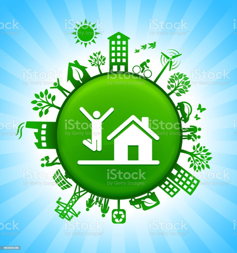 House Purchase Environment Green Button Background on Blue Sky - Royalty-free Alternative Energy stock vector