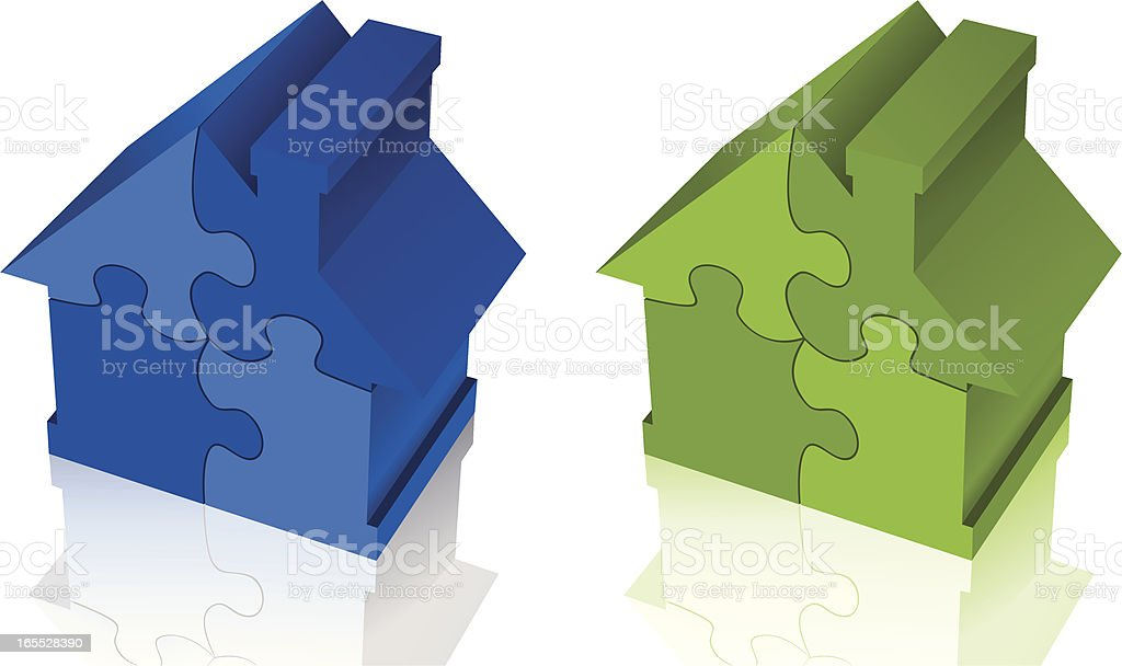 House puzzle vector art illustration
