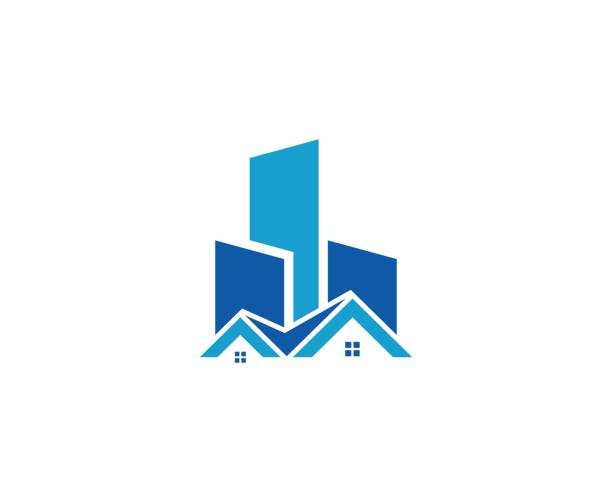 House real estate icon vector art illustration